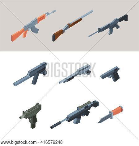 Soldiers Guns. Isometric Weapons Automatic Arms For Modern Warriors Garish Vector Guns For War Colle