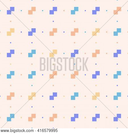 Vector Minimalist Seamless Pattern. Pixel Art Style. Simple Minimal Texture With Small Squares, Colo