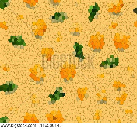 Abstract Art Mosaic Background, Orange Fruit And Green Leaves Texture On Yellow