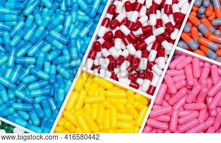 Multi-colored Capsule Pills In Plastic Drug Tray. Pharmacology. Pharmaceutical Industry. Drug Of Cho