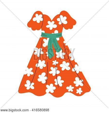 Summer Red Womens Dress With A Belt. Dress With A Floral Pattern. Vector Flat Cartoon Illustration
