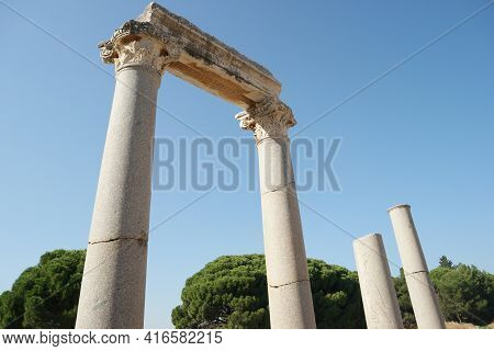 Ruins Of Ancient City Ephesus, Turkey. Archaeological Site In Turkey.