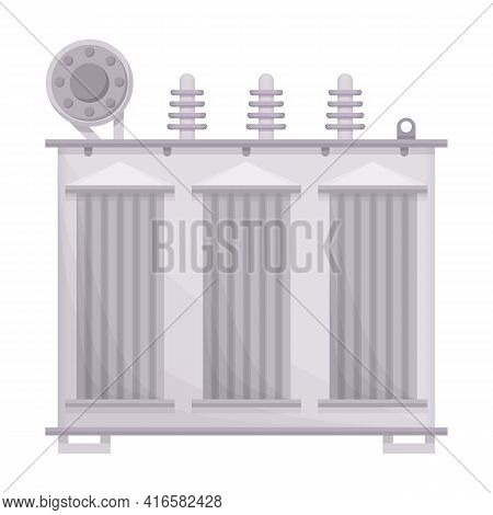 Transformer Vector Cartoon Icon. Vector Illustration Electric Equipment On White Background. Isolate