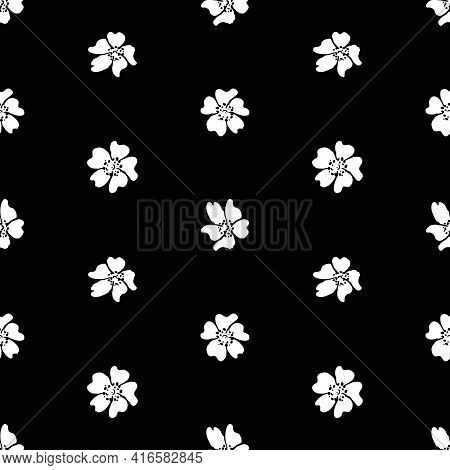Seamless Pattern Of Silhouettes White Daisy Flowers