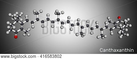 Canthaxanthin, Molecule. It Is Carotenone, Keto-carotenoid, Terpenoid, Biological Pigment, Food Colo