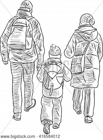 Sketch Of Family Casual Citizens Walking Outdoors