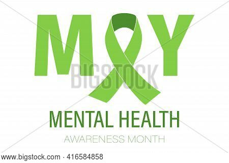 The Concept Of Mental Health Awareness Month. Simple Flat-style Typography Design, Vector