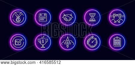 10 In 1 Vector Icons Set Related To Turnaround Theme. Lineart Vector Icons In Neon Glow Style