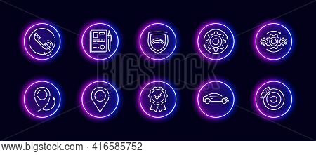 10 In 1 Vector Icons Set Related To Car Insurance Theme. Lineart Vector Icons In Neon Glow Style