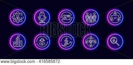 10 In 1 Vector Icons Set Related To Human Resources Theme. Lineart Vector Icons In Neon Glow Style