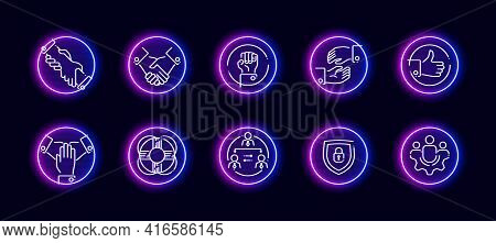 10 In 1 Vector Icons Set Related To Labour Rights And Team Building Theme. Lineart Vector Icons In N