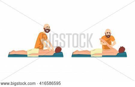 Masseur Massaging Clients Set, Spa Treatment, Chiropractic Massage, Rehabilitation Vector Illustrati