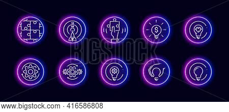10 In 1 Vector Icons Set Related To Creative Development Theme. Lineart Vector Icons In Neon Glow St