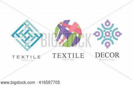 Textile Logo Design Set, Decor Business Logo Identity Labels, Fashion Designer Badges Flat Vector Il