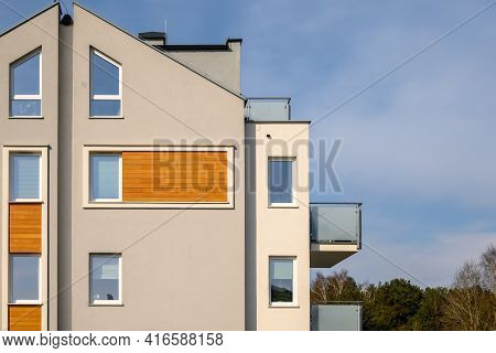 Modern Apartment Block In A Housing Estate. Architecture Contemporary