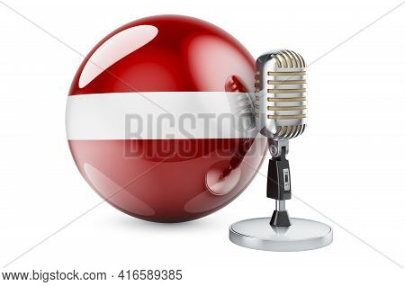Music Of Latvia Concept. Retro Microphone With Latvian Flag. 3d Rendering Isolated On White Backgrou