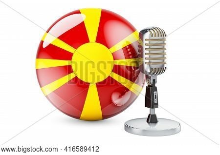 Music Of Macedonia Concept. Retro Microphone With Macedonian Flag. 3d Rendering Isolated On White Ba