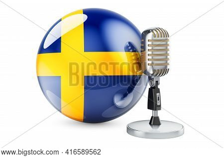 Music Of Sweden Concept. Retro Microphone With Swedish Flag. 3d Rendering Isolated On White Backgrou