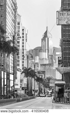Hong Kong, China - March 25, 2021 : View Of Nathan Road In Tsim Sha Tsui District In Hong Kong City