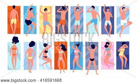 People Sunbathe. Isolated Persons On Towels, Tanning Friends Vacations. Girl Outdoor Summer Relax, F
