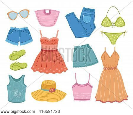 Fashion Summer Clothes. Clothing Clipart, Flat Dress Swimsuit Textile. Vacation Outfit, Sundress And