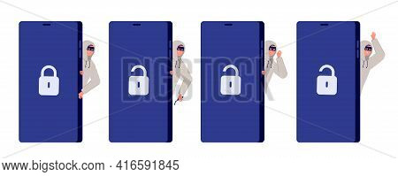 Thief Character. Web Thiefs, Hacker Phishing Information. Internet Cyber Burglar Fraud, Utter Flat C