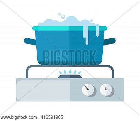 Flat Saucepan On Stove. Gas Burner, Water Boils Out Of Pan. Food Preparation, Kitchen Cooking Proces