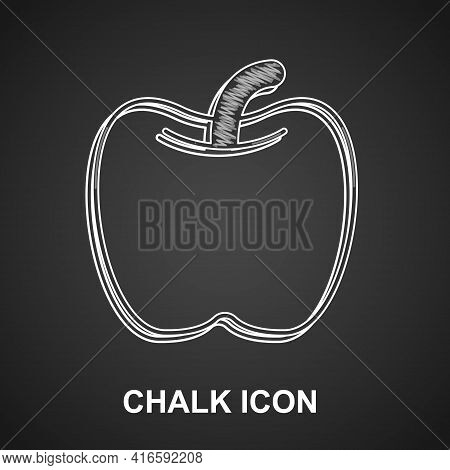 Chalk Apple Icon Isolated On Black Background. Excess Weight. Healthy Diet Menu. Fitness Diet Apple.