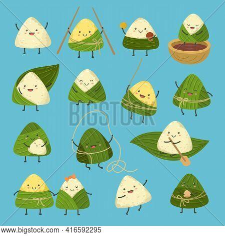 Cartoon Dumplings. Dragon Boat Festival, Cute Rice Dumpling Stickers. Comic Asian Summer Food Zongzi