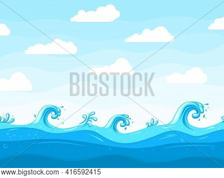 Sea Waves Background. Ocean Wave Pattern, Water Surface Or Beach Landscape. Cartoon Sky White Clouds