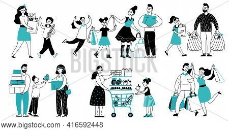 Family Shopping. Consumer Buy In Supermarket, People Running To Shop. Women Consume, Shopper With Ca