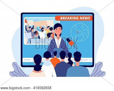 Live News. Cartoon Tv Broadcast, Sport Fans Or Journalist Interview. Television Media Studio, Breaki