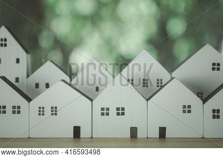 White Wood House And Home Village Model On Nature Background For Family Happy Home Love Life And Com