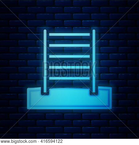 Glowing Neon Wooden Swedish Wall Icon Isolated On Brick Wall Background. Swedish Stairs. Vector