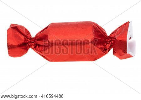Chocolate Candy In Wrapper Isolated On White Background