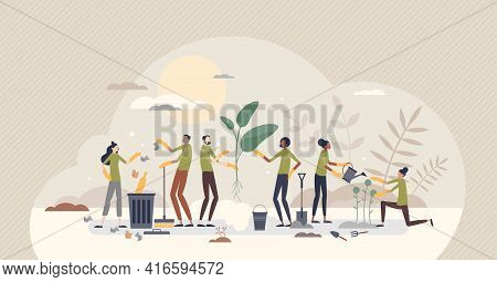 Community Service Care And Social Valuable Work Activity Tiny Person Concept