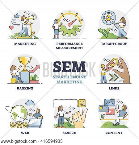 Sem As Search Engine Marketing For Business Web Advertising Outline Diagram