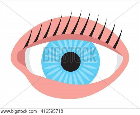 Human Eye, Conjunctivitis, Pinkeye Flat Icon Vector. Medical Ophthalmologist Eyesight Sign. Simple H