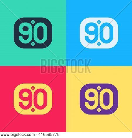 Pop Art 90s Retro Icon Isolated On Color Background. Nineties Poster. Vector