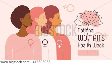 National Women's Health Week Concept Vector For Web, App. Event On Mother's Day To Encourage Women H