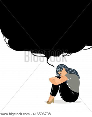 Woman With Depressive Thinking. Cartoon Unhappy Girl With Confusion In Brain, Concept Of Anxious Fee