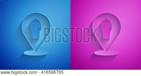 Paper Cut Alcohol Or Beer Bar Location Icon Isolated On Blue And Purple Background. Symbol Of Drinki