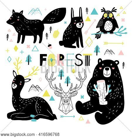 Animals In Scandinavian Style. Cartoon Deer And Owl, Bear And Happy Fox Is Cute Forest Characters, V
