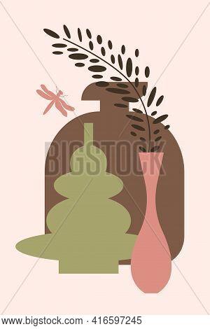 Plant In Vase Pattern Background, Abstract Boho Minimalist Vase Illustration For Design Nursery Wall