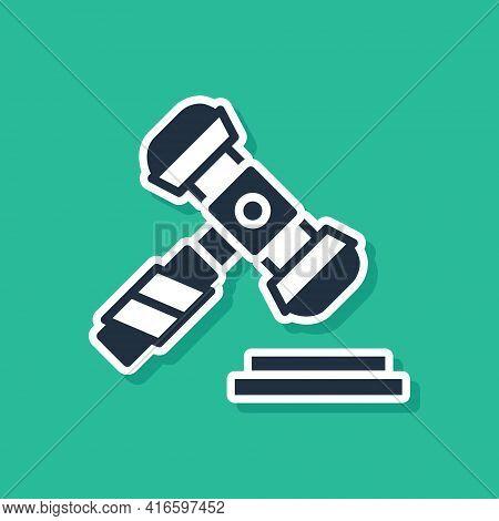 Blue Judge Gavel Icon Isolated On Green Background. Gavel For Adjudication Of Sentences And Bills, C