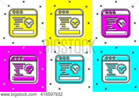 Set System Bug Concept Icon Isolated On Color Background. Code Bug Concept. Bug In The System. Bug S