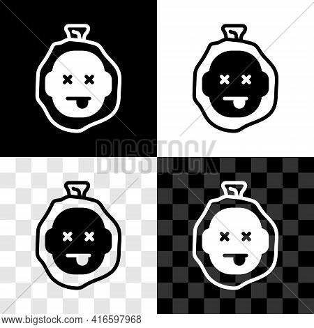 Set Murder Icon Isolated On Black And White, Transparent Background. Body, Bleeding, Corpse, Bleedin