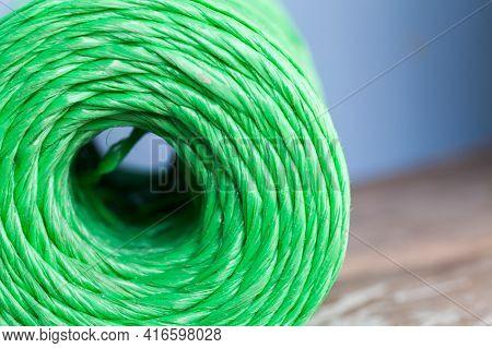 Skein Of Green Polypropylene Cord, Closeup Photo With Selective Focus