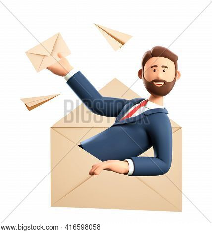 3d Illustration Of Cartoon Man In A Huge Postal Envelope Holding A Mail Letter. Flying Paper Airplan