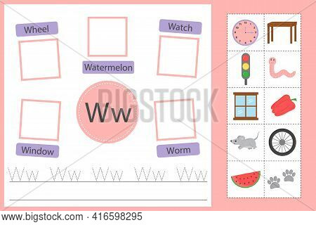 Alphabet Tracing Worksheet For Preschool And Kindergarten. Writing Practice Letter W. Exercises With